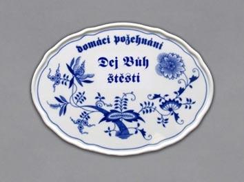 Cibulák Božie požehnanie s nápisom Dej Bůh štěstí 24,5 cm cibulový porcelán, originálny cibulák Dubí, 1. akosť