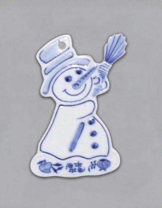 Cibulák vianočná ozdoba / obojstranná - snehuliak 8 x 5 cm cibulový porcelán, originálny cibulák Dubí 1. akosť