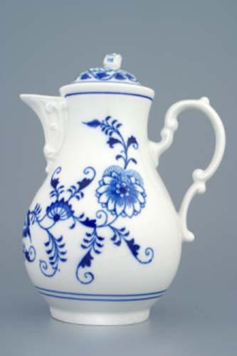 Cibulak kanvica kávová s viečkom cibulový porcelán, originálny cibulák Dubí 1. akosť