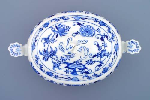 Cibulak misa zeleninová ovalna s vekom 1,50 l cibulový porcelán, originálny cibulák Dubí 1. akosť