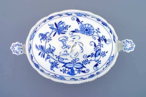 ibulák misa polievková oválna s vekom a výrezom 3,0 l cibulový porcelán originálny cibulák Dubí 1. akosť