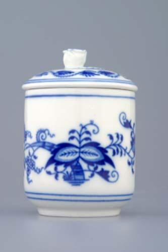 Cibulák horčičník s viečkom 6 cm cibulový porcelán, originálny cibulák Dubí, 1. akosť