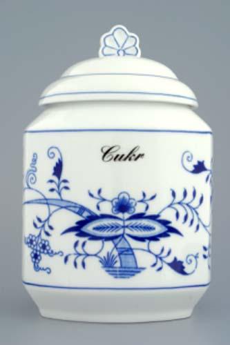 Cibulák dóza na poživatiny s viečkom a nápisom podľa špecifikácie 1,1 l cibulový porcelán, originálny cibulák Dubí, 1. akosť