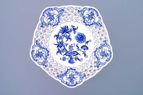 Cibulák misa päťhranná, prelamovaná na tortové nohe 24 cm cibulový porcelán, originálny cibulák Dubí