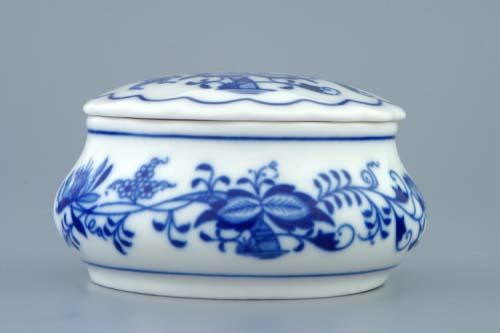 Cibulák dóza šperkovnica okrúhla s vekom 9 cm cibulový porcelán, originálny cibulák Dubí, 1. akosť