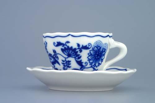 Cibulák šálka a podšálka A + A 0,08 l cibulový porcelán, originálny cibulák Dubí 1. akosť