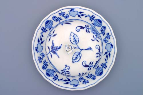 Cibulak dóza na syr, guľatá 11 cm cibulový porcelán, originálny cibulák Dubí, 1. akosť