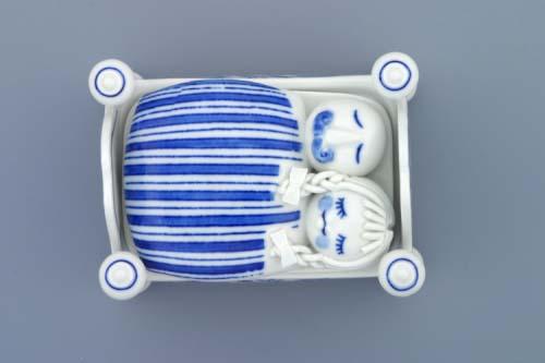 Cibulák dóza na cukríky (postieľka) 12cm cibulový porcelán, originálny cibulák Dubí