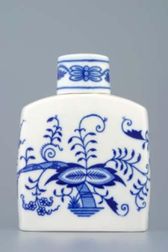 Cibulák dóza na čaj s viečkom 9 x 12 cm cibulový porcelán, originálny cibulák Dubí, 1. akosť