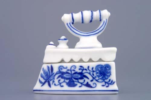 Cibulák žehlička mini - komplet cibulový porcelán, originálny cibulák Dubí 1. akosť