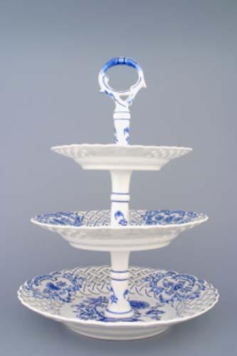 Cibulák etažér trojdielny, taniere prelamované, porcelánová tyčka 36 cm cibulový porcelán, originálny cibulák Dubí, 1. akosť
