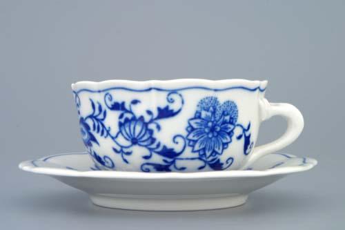 Cibulák šálka a podšálka C / 2 + ZC / 2 (zrkadlová podšálka) čajová cibulový porcelán, originálny cibulák Dubí 1. akosť