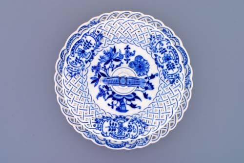 AKCIA -15% Cibulak etažér dvojdielny, taniere prelamované, porcelánová tyčka 27 cm cibulový porcelán, originálny cibulák Dubí, 1. akosť