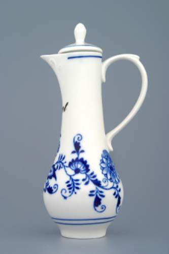 Cibulák karafka s viečkom a nápisom podľa špecifikácie 0,35 l cibulový porcelán, originálny cibulák Dubí 1. akosť