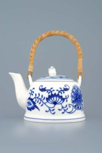 Cibulák kanvica čajová M s viečkom a lykovým držadlom 0,35 l cibulový porcelán, originálny cibulák Dubí 1. akosť