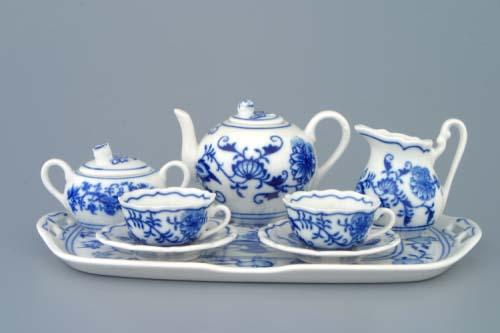 Cibulák čajová súprava mini / 8 dielna 410 g cibulový porcelán, originálny cibulák Dubí 1. akosť