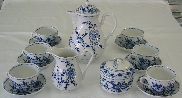 Cibulák súprava kávová K2 15ks cibulový porcelán, originálny cibulák Dubí 1. akosť