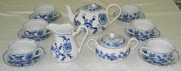 Cibulák čajová súprava C1 9ks cibulový porcelán, originálny cibulák Dubí 1. akosť