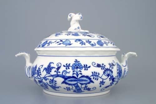 Cibulák misa zeleninová okrúhla s vekom a výrezom 2,0 l, cibulový porcelán, originálny cibulák Dubí