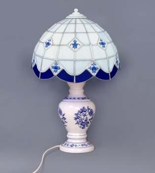 Cibulák lampový podstavec s tienidlom vitráž, neprolamovaný 3210 g cibulový porcelán, originálny cibulák Dubí 1. akosť