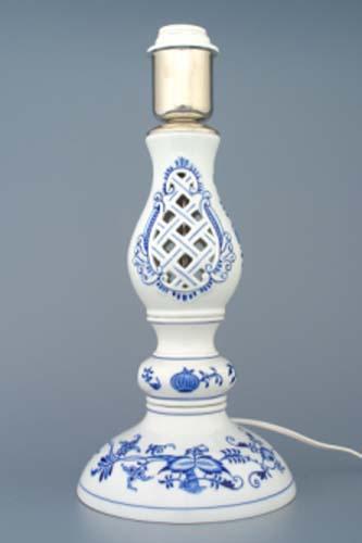 Cibulák lampový podstavec prelamovaný s monturou 37 cm cibulový porcelán, originálny cibulák Dubí 1. akosť