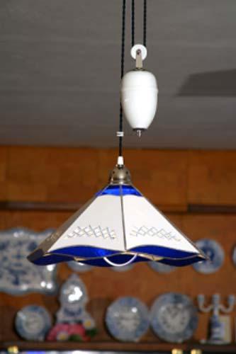 Cibulák lampa sťahovacia, bez dekorácie, biele závažie 46 cm cibulový porcelán, originálny cibulák Dubí 1. akosť