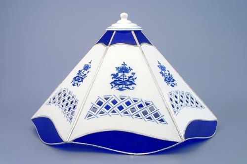 Cubulák tienidlo vitráž / šesťhranné 35 cm cibulový porcelán, originálny cibulák Dubí 1. akosť