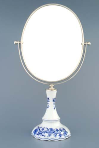Cibulák zrkadlo oválne otočné v striebornom ráme 48 x 27 cm cibulový porcelán, originálny cibulák Dubí 1. akosť