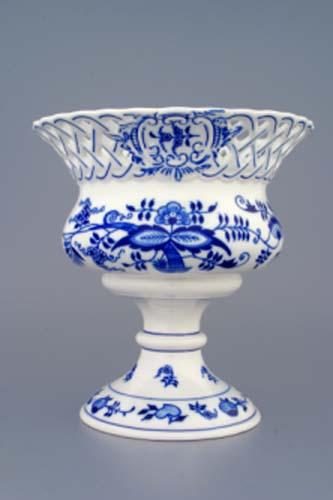 Cibulák kvetináč prelamovaný na nôžke 19 cm cibulový porcelán, originálny cibulák Dubí 1. akosť