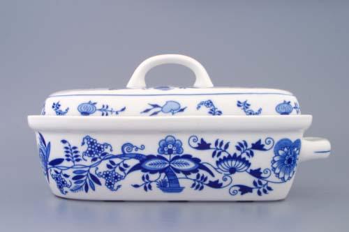 AKCIA-25% Cibulák pekáč malý s vekom 29,5 x 15,5 cm cibuľový porcelán, originálny porcelán Dubí, 1. akosť