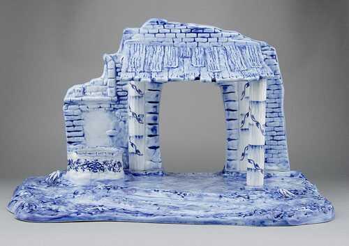 Cibulák salaš 48x54x32 cm cibulový porcelán, originálny cibulák Dubí 1. akosť