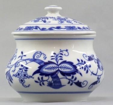 Cibulák dóza zeleninová s vekom 12,4 cm cibulový porcelán, originálny cibulák Dubí, 1. akosť