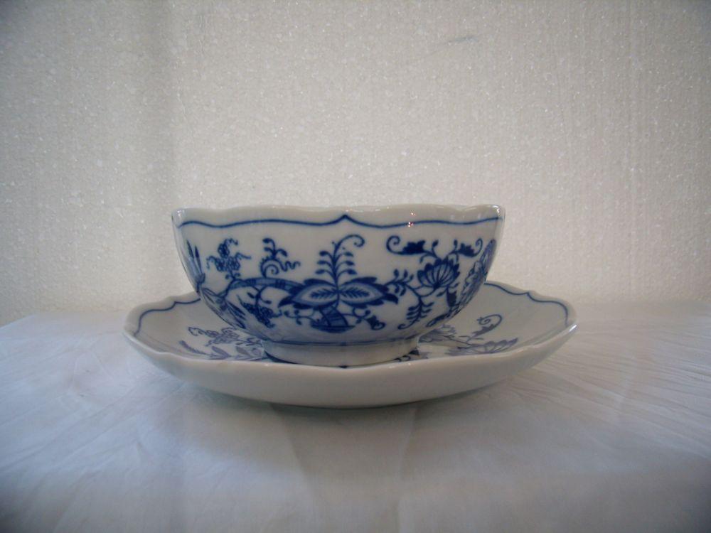 Cibulák šálka a podšálka bujón bez ušiek 0,30 l cibulový porcelán, originálny cibulák Dubí 1. akosť
