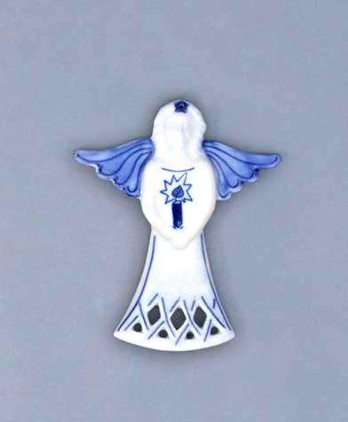 Cibulák vianočná ozdoba - anjel / sviece 11 x 8,5 cm cibulový porcelán, originálny cibulák Dubí 1. akosť