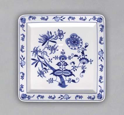 Cibuľový tanier štvorhranný 27,5 x 27,5 cm cibuľový porcelán, originálny cibulák Dubí 2. akosť