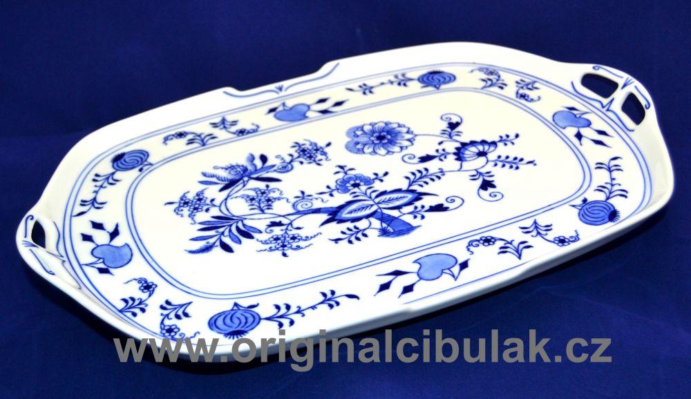 Cibulák podnos štvorhranný s ušami 38 cm cibulový porcelán, originálny cibulák Dubí 1. akosť