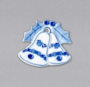 Cibulák vianočná ozdoba / obojstranná - zvončeky 6,2 x 5,3 cm cibulový porcelán, originálny cibulák Dubí 1. akosť