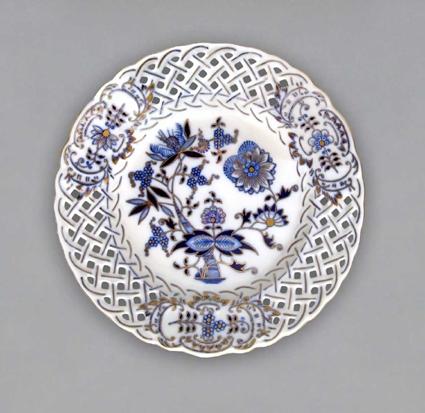 Cibulákový tanier prelamovaný-originálny cibulák pozlátený cibulový porcelán, originálny cibulák Dubí 1. akosť