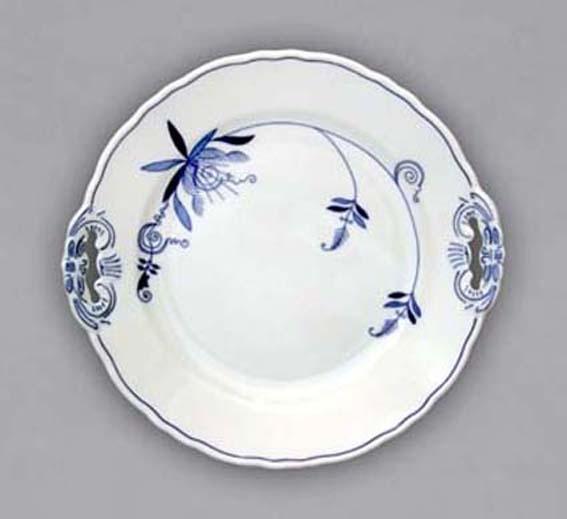 Cibulákový tanier koláčový s ušami - ECO cibulák 8 cm cibulový porcelán, originálny cibulák Dubí 1. akosť