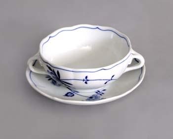 Cibuláková šálka + podšálka bujón s 2 uškami - ECO cibulák 0,30 l cibulový porcelán, originálny cibulák Dubí 1. akosť