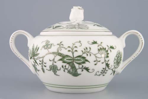 Cibuláková cukornička s uškami bez výrezu, originálny cibulák zelený s patinou,cibulový porcelán, originálny cibulák Dubí, 1. akosť