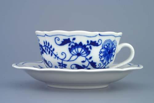 Cibulák šalka a podšalka čajová C / 1 + ZC / 1 (zrkadlová podšálka) 0,20 l cibulový porcelán originálny cibulák Dubí 2. akosť