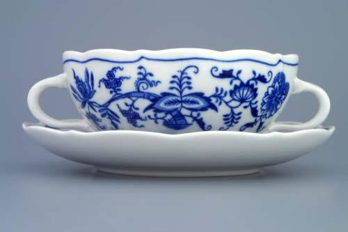 Cibulák Šálka a podšálka bujón s 2 uškami 0,30 l cibulový porcelán originálny cibulák Dubí 2. akosť