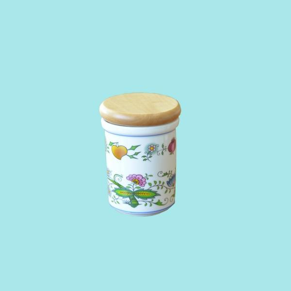 Cibulák dóza s dreveným uzáverom B - stredná - NATURE farebný cibulák 8,2 cm cibulový porcelán, originálny cibulák Dubí 1. akosť