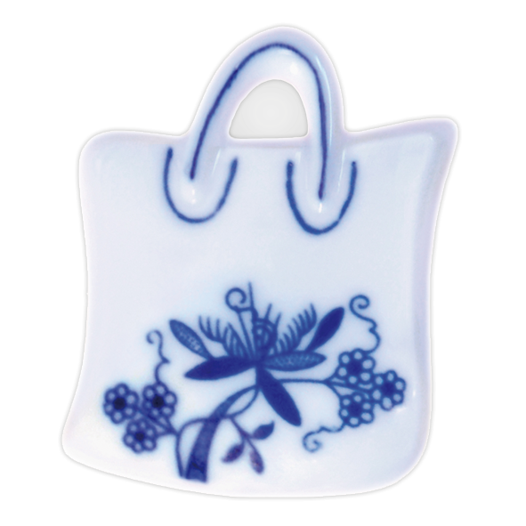 Cibulák magnetka nákupná taška 6,2cm, cibulový porcelán, originálny cibulák Dubí 1. akosť
