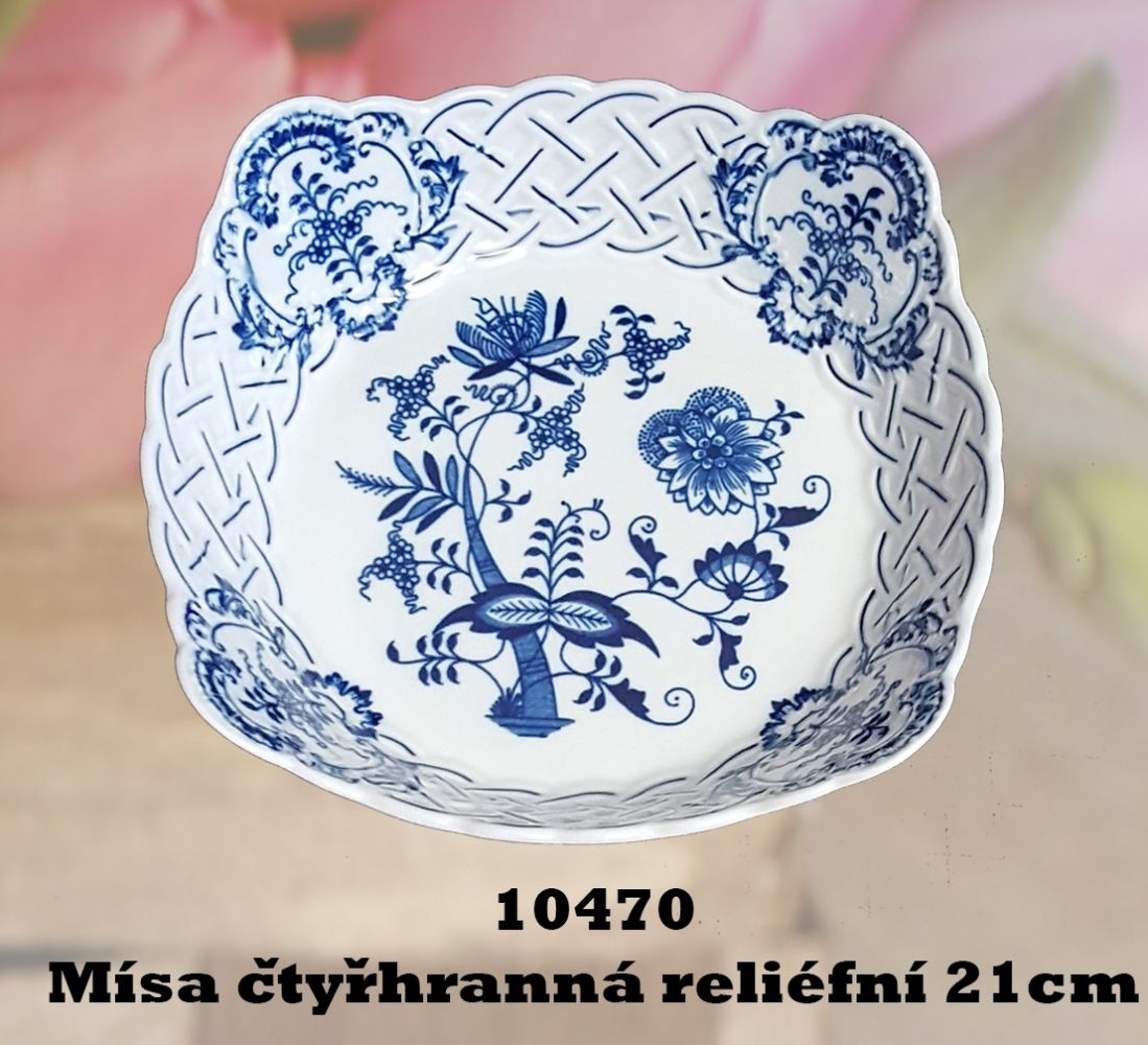 Mimoriadna akcia -50% Cibulák misa štvorhranná prelamovaná 21 cm cibulový porcelán, originálny cibulák Dubí 1. akosť
