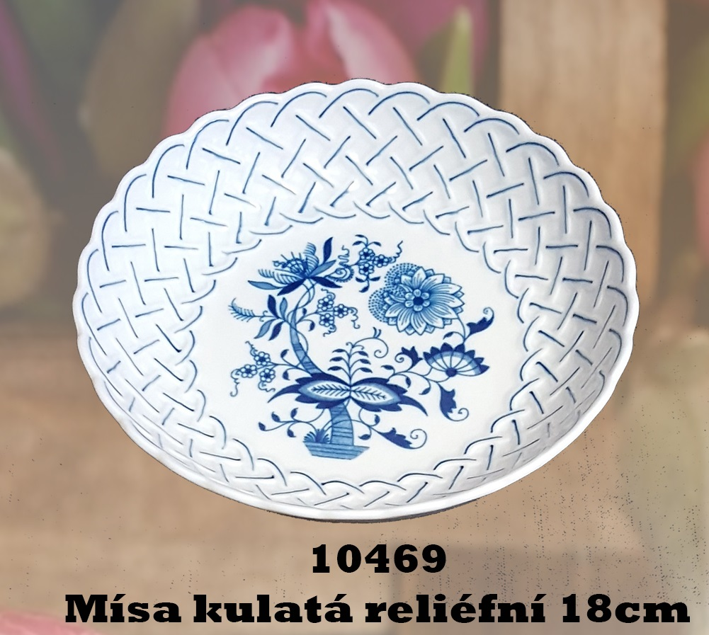 Cibulák misa guľatá, reliefna 18 cm cibulový porcelán, originálny cibulák Dubí 2. akosť