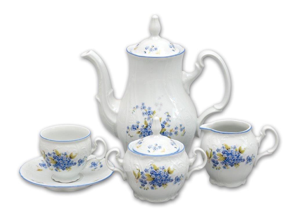 Kávová súprava Nezabudky Bernardotte 15 dielov Thun cibulákový porcelán Nová Role
