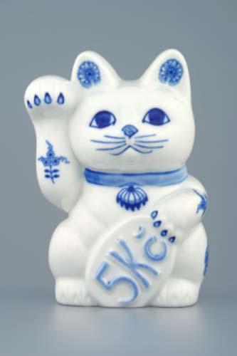 Cibulák mačka pozývací - pokladnička 16 x 9 cm cibulový porcelán, originálny cibulák Dubí 1. akosť