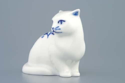 Cibulák mačka sediaci 8 x 7 cm cibulový porcelán, originálny cibulák Dubí 1. akosť